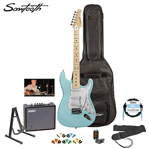 Sawtooth St-Es-Dblp-Kit-3 Daphne Blue Electric Guitar With Pearl White Pickguard - Includes Accessories, Amp, Gig Bag And Online Lesson