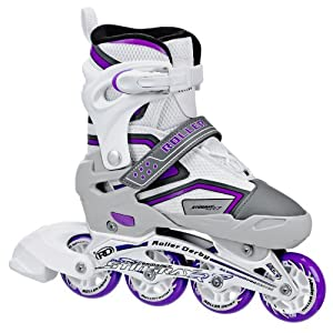 Roller Derby Girl's Stingray R7 Adjustable Inline Skates, Medium (3-6)