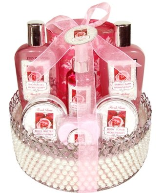 Rose Scented Bath & Body Set for Her in Faux Pearl Basket - Valentines Day Gift Idea for Women or Teen Girls