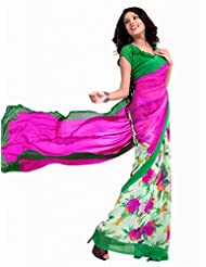 Admyrin Women's Pink And Off White Bemberg Georgette Printed Saree