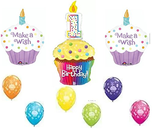 Happy Birthday Make a Wish 1st Birthday Cupcake Party Balloon Decoration Kit - 1