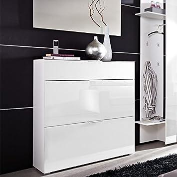 meuble chaussures blanc blanc avec 2 abattants et 1 tiroir tiroir dim 99 x 106 x 30 cm. Black Bedroom Furniture Sets. Home Design Ideas