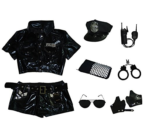 Esquki Women Police Costume Dirty Cop Halloween Outfit (Set 1)