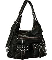 Black 'Riveted Pockets' Tote-to-Backpack Shoulder Bag