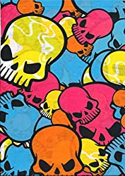 Multifunction Neckwarmer, Snood, Hat, Scarf and Hood in Bright coloured skull print by Monogram