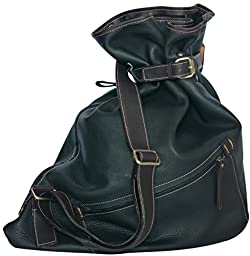 Leather Crossbody Messenger Shoulder Haversack Tote Weekender Bag (Black)