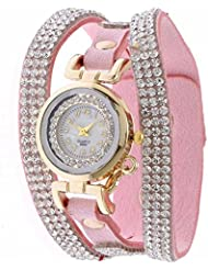 Felizer Pink Diamond Studded Round Dial Analog Watch - Pink