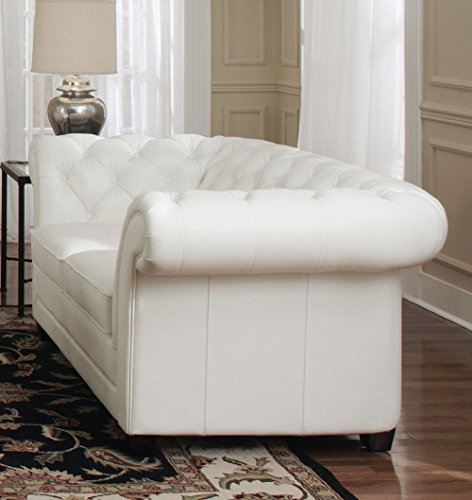 "94"" L Tufted Sofa Top grain white leather classic chesterfield spectacular 1"