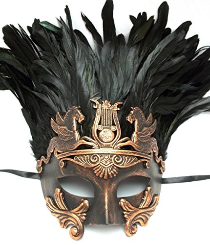 Copper Black Mens Mythological Hercules Feather Greek Style Party Masquerade Mask
