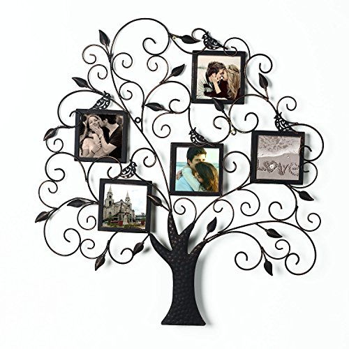 Adeco Brown Black Decorative Tree Style Collage Iron Metal Wall Family Tree Scroll Haning Picture Photo Frame, 5 Opening , 4x4