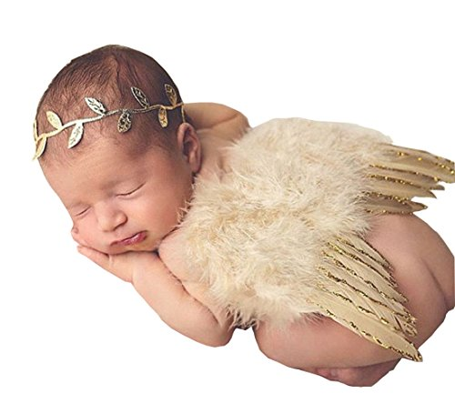 1-Set-Newborn-Baby-Gold-Silver-Leaf-Headband-Wing-Costume-Photo-Photography-Prop