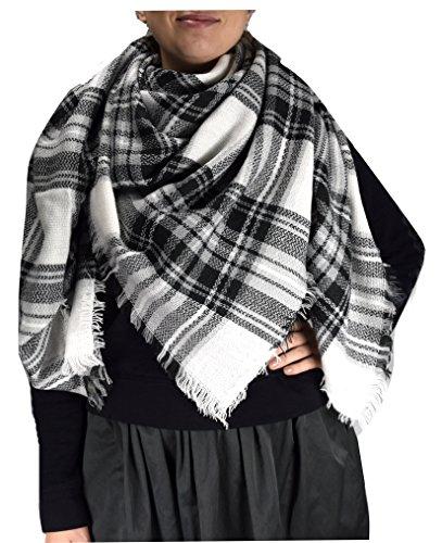 peach-couture-warm-tartan-plaid-woven-oversized-fringe-scarf-blanket-shawl-wrap-black-white