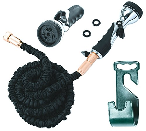 Vela 50ft Flexible Garden Hose - Expandable Heavy Duty Flex Water Hose + Hose Holder & Hose Nozzle w/ 9 Spray Settings - BEST As Seen on TV Kink-Free Garden Hose for Car Washing & Pressure Washing (Water Softener For Washing Cars compare prices)