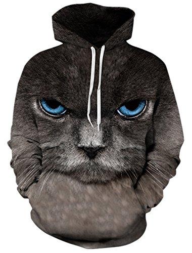Bfustyle donne 3D realistica digitale stampa pullover con cappuccio felpa con cappuccio M Grumpy Cat