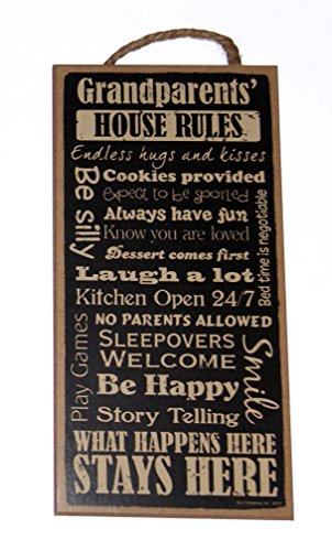 """Grandparents House Rules Be Happy, Cookies, Fun & more 5""""x10"""" Wood Wall Sign"""