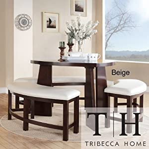 Dining set 4 piece contemporary triangle shaped wood table and bench