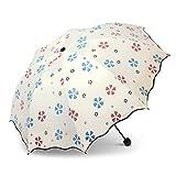 Yukiss 折り畳み傘 レディース かわいい ぬれると柄が浮き出る傘 丈夫な耐風仕様 晴雨兼用 ホワイト (ホワイト) …
