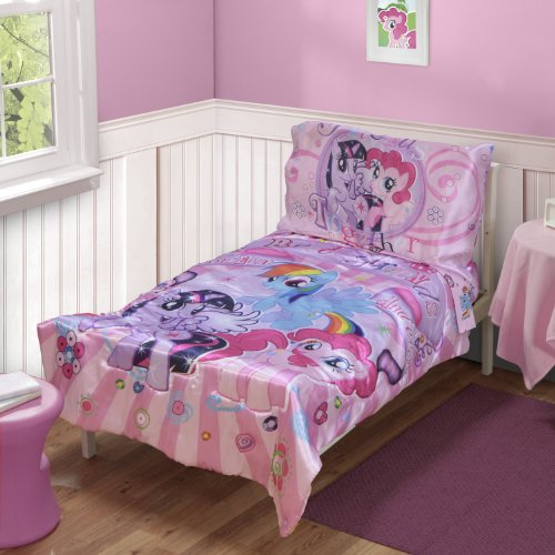 My Little Pony Toddler Bedding 4pc Set, Pink Little Pony Toddler Bedding Set, Pink