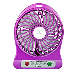 Powerful Portable Wireless Rechargeable Mini USB Fan Micro USB Charging Port (Like Mobile) 2200 mAh Lithium-ion Battery Inside 3 Speed Compact Cool Premium Quality Durable Best for Desktop Use Lamp Gadget Purple