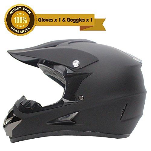 A.B Crew DOT Motorcycle Helmet Off Road Gear Combo Motocross Helmet with Motocross Goggles Motorcycle Gloves