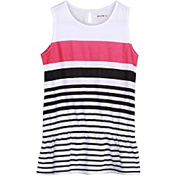 Poppers by Pantaloons Girl's Striped T-Shirt 205000005563789_Pink_9-10 YRS