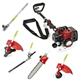 NEW TRUESHOPPING® 33CC 'TOTAL GARDENERX5' PETROL LONG REACH MULTI FUNCTION 5 IN1 GARDEN TOOL - INCLUDES: HEDGE TRIMMER, STRIMMER, BRUSHCUTTER, CHAINSAW PRUNER & FREE EXTENSION POLE 2-STROKE 1.1KW 1.5HP