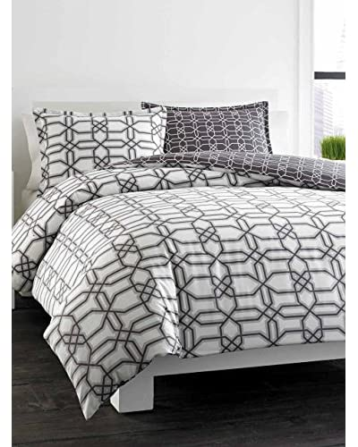 City Scene Labyrinth Gray Cotton Duvet Cover Set
