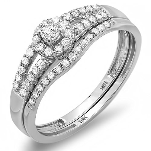 0.58 Carat Halo Engagement Ring Sets Round cut Diamond on 14K White gold