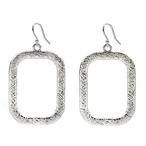 Marie Todd Alexa Silver Rectangle Hoop Earrings