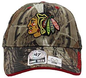 47 Brand Chicago Blackhawks Realtree AP Camouflage Velcro Back Cap by