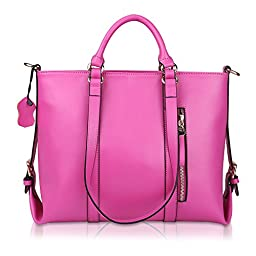 Kattee Urban Style 3-Way Women\'s Genuine Leather Shoulder Tote Bag (Rose)