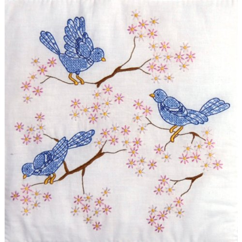 Tobin Stamped Quilt Blocks Cross Stitch Kit, 18 by 18-Inch, Blue Birds, White, 6 Per Package