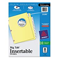 WorkSaver Big Tab Dividers W/ Copper Holes, Clear 8-Tab, Letter, Buff, 1/Set