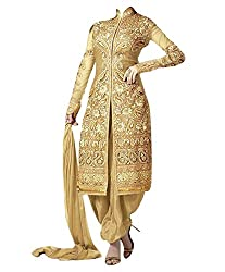 Khazanakart Exclusive Designer Golden Color Georgette Fabric Un-stitched Lehenga Choli With Chiffon Dupatta Material.