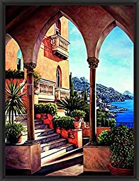 26in x 34in Palazzo on Amalfi by Elizabeth Wright - Black Floater Framed Canvas w/ BRUSHSTROKES