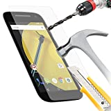 ITALKonline Motorola Moto E (2nd Gen) Moto E2 (2015) Clear Transparent Tempered Glass Protective LCD Screen Protector with MicroFibre Polishing Cleaning Cloth and Application Card