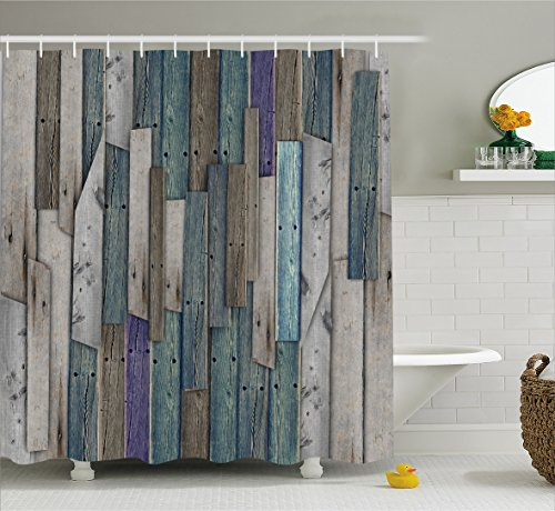 Wooden Shower Curtain Set by Ambesonne, Blue Grey Grunge Rustic Planks Barn House Wood and Nails Lodge Hardwood Graphic Print, Fabric Bathroom Decor with Hooks, 84 Inches Extra Long, Gray Blue (Wood Tub Plank compare prices)