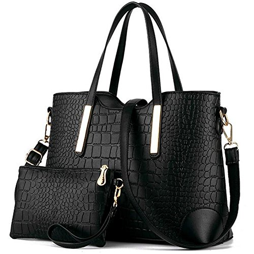 Z-joyee Women Shoulder Bag 2 Piece Tote Bag Pu Leather Handbag Purse Bags Set
