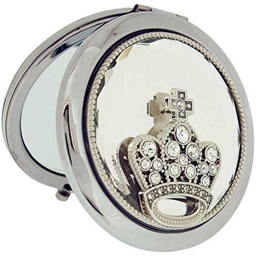 Sophia-Specchietto compatto placcato argento, con tasca-Specchio con corona SC1124 Set