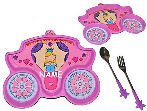 3-tlg-Set-Besteckset-3-geteilter-Teller-Prinzessin-incl-Namen-Kutsche-Kinderteller-aus-Kunststoff-Plastikteller-Plastik-geteilt-Geschirr-fr-Kinder-Mdchen-unterteilt-mit-Unterteilung