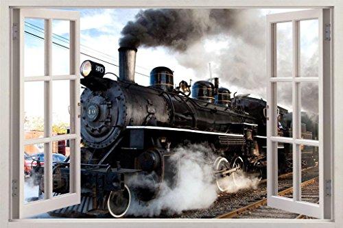 Black Train 3D Window View Decal Graphic WALL STICKER Decor Art Mural H53, Huge