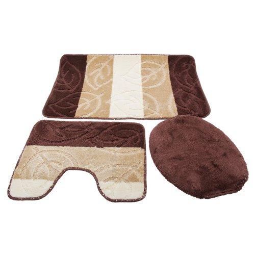 Set tappeti da bagno 3 pezzi taglia unica marrone beige - Set tappeti per bagno ...