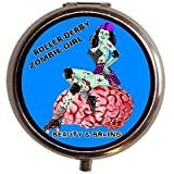 Roller Derby Zombie Girl Beauty and Brains Skating Pin up Pill Box Case