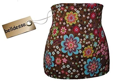 3-in-1-Jersey-Nierenwrmer-Shirt-Verlngerer-modisches-Accessoire-Baumwolle-braun-bunt-Blumen
