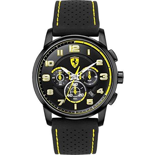 Caja de acero inoxidable de Ferrari 0830061 44 mm de caucho de color negro para la protección de reloj de pulsera de los hombres