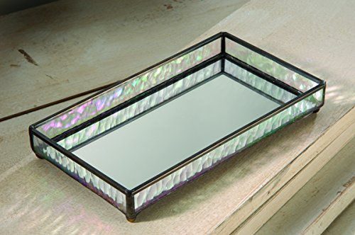 J Devlin Glass Art - Elegant Small Mirrored Vanity Tray - Iridescent Stained Glass - 9 x 5