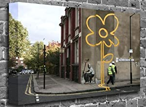 "Banksy - Large Sunflower (London) Street Graffiti Stencil Art Canvas Art Canvas Print Picture print Size: (60"" x 40"")"