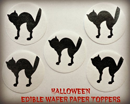 """12 HALLOWEEN BLACK CAT SILHOUETTE SPOOKED SCARED PRECUT EDIBLE CAKE TOPPERS 1.5"""" SMALL Dozen Set - Cake, Cookie, Lollipop and Cupcake Toppers, Decorations for Children's Birthdays Party Supplies"""