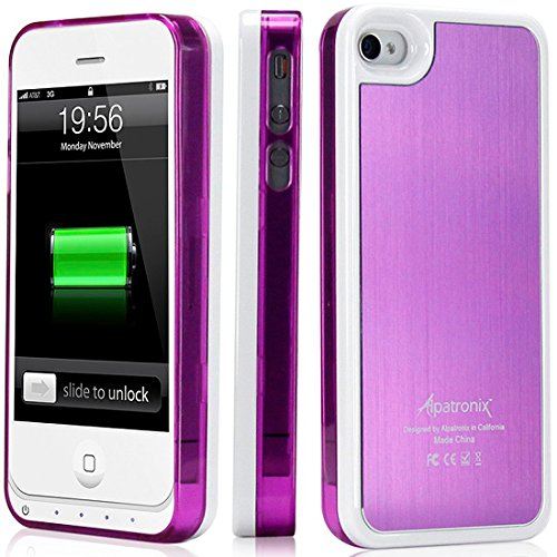 Alpatronix Mfi Apple Certified Bx100 1900Mah Iphone 4/4S Battery Charging Case (Ultra Slim Removable Extended Battery, Fits All Models Of Apple Iphone 4/4S - Retail Packaging) - Aluminum Purple/White