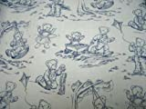 SheetWorld Fitted Pack N Play (Graco) Sheet - Blue Teddy Toile - Made In USA
